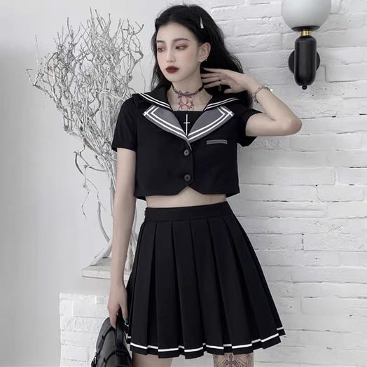 2-Piece  Short Sleeve Top Pleated Skirt