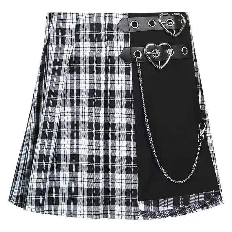 Double Buckle Pleated Plaid Mini Skirt