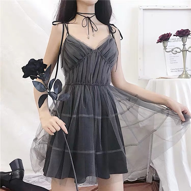 BestKawaii-Gray-Mesh-Spaghetti-Strap-Mini-Dress