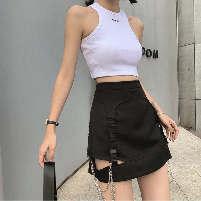 High Waist Chain Hollowed Out Tight Skirt