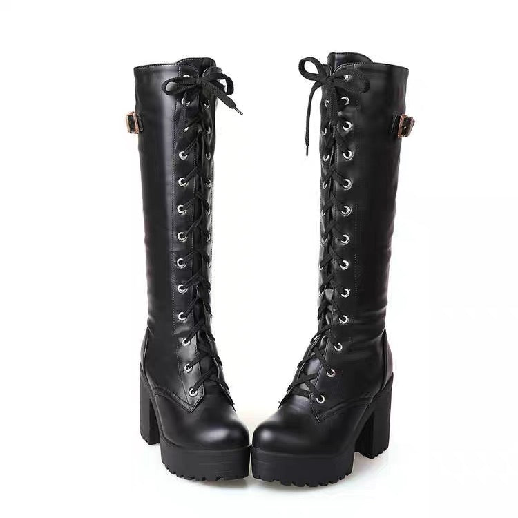BestKawaii-Lace-Up-Buckle-Side-Boots