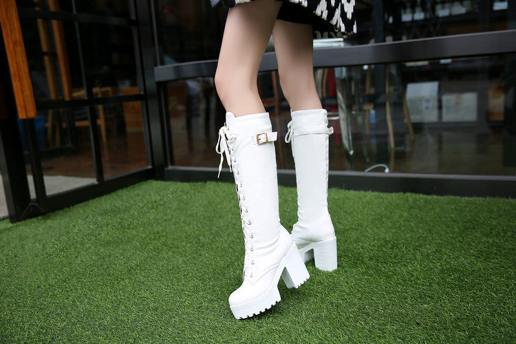Lace Up Buckle Side Boots