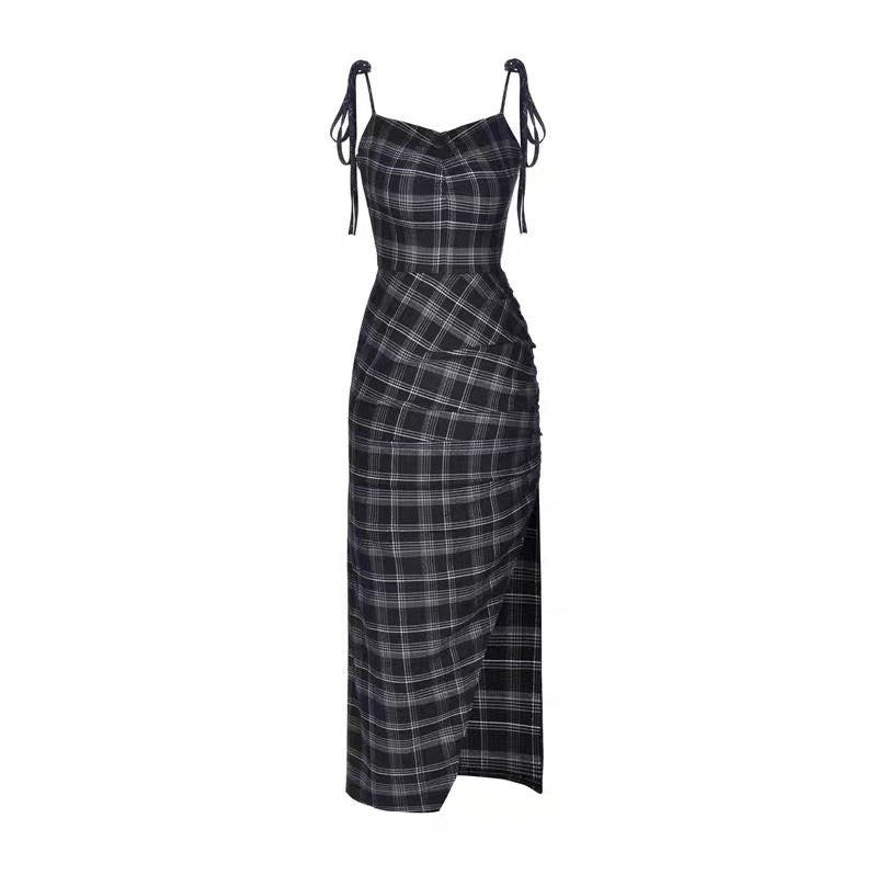 BestKawaii-Plaid-Wrinkle-Slim-Dress