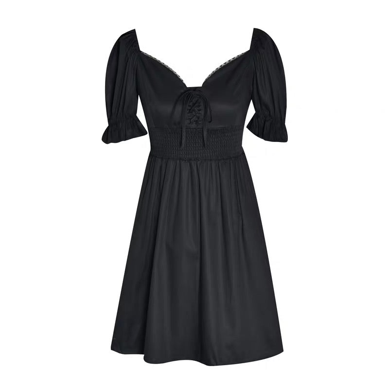 Puff Sleeve Vintage Black Dress