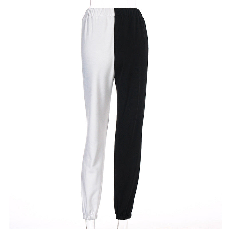 Black and White Contrast High Waist Casual Pants