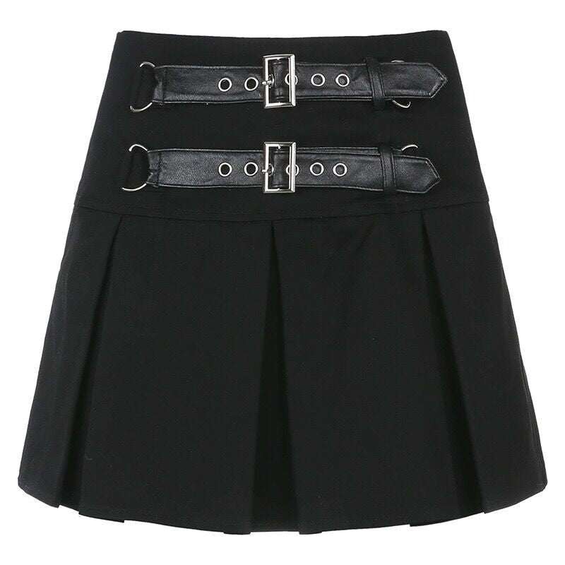 Bestkawaii-Buckle-Front-Mini-Skirt