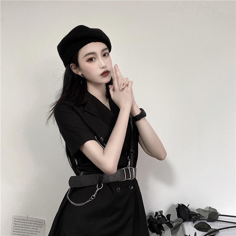 Double Breasted Short Sleeve Suit Dress