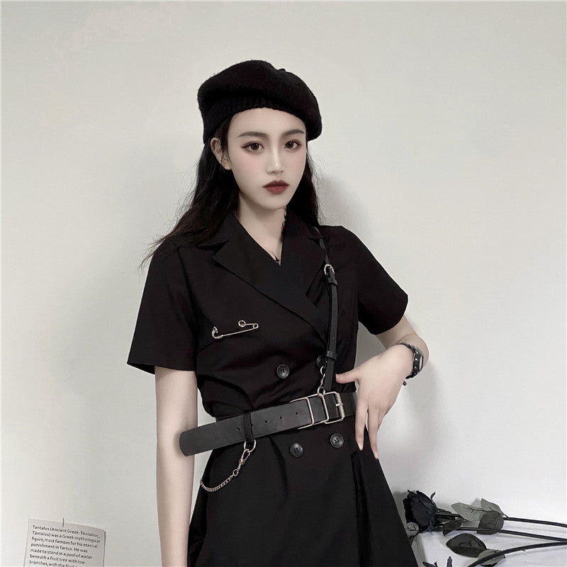 Bestkawaii-Double-Breasted -Short-Sleeve-Suit-Dress