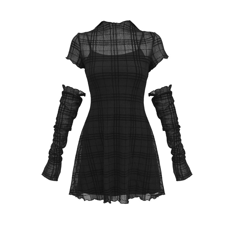 Bestkawaii-Elastic-Flocked-Plaid-Dress