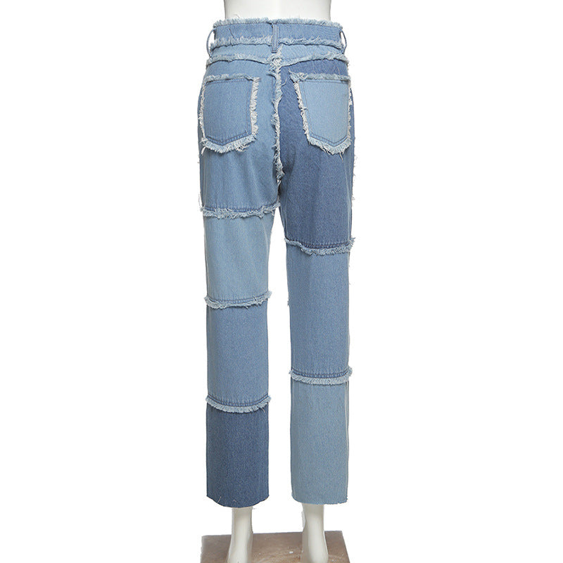 Bestkawaii-High-Waist-Color-Matching-Jeans