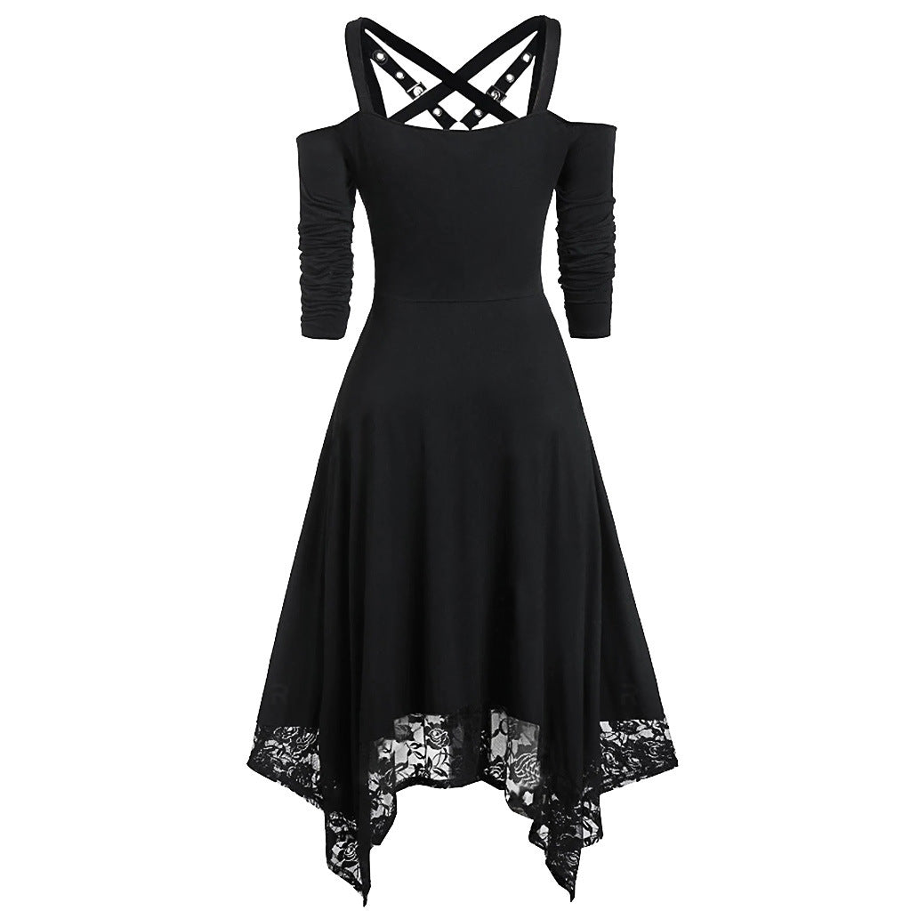 Bestkawaii-Irregular-Lace-Hem-Mid-Sleeve-Dress