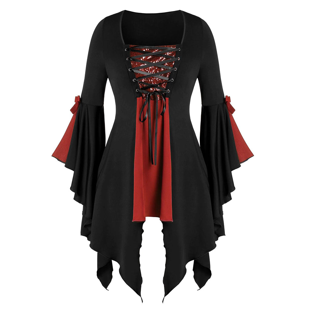 Bestkawaii-Ragged-Hem-Witch-Skirt-With-Flared-Sleeves