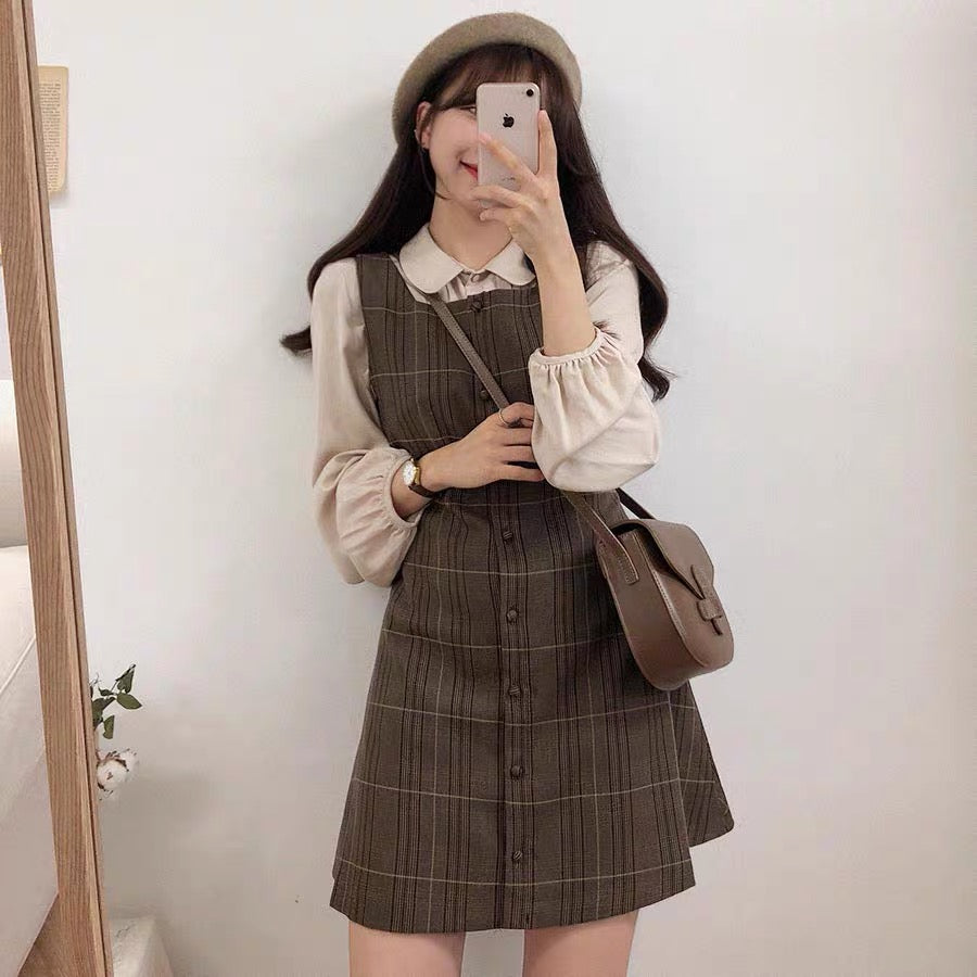 Bestkawaii-Retro-PlaidSuspender-DressSet