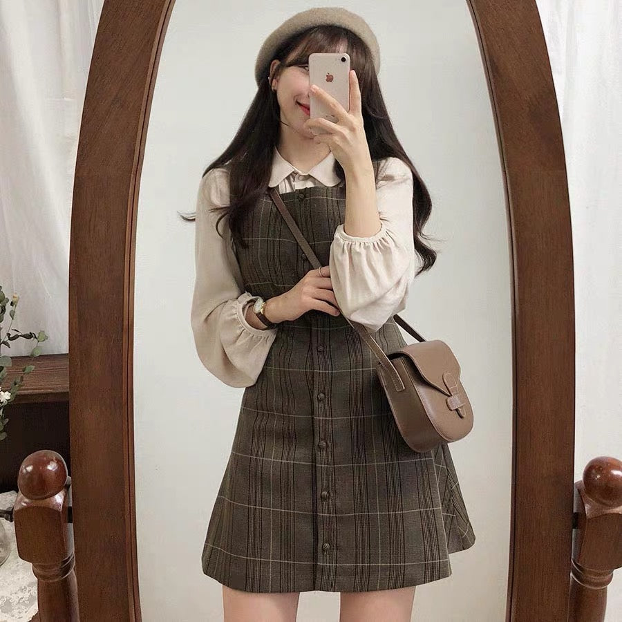 Bestkawaii-Retro-PlaidSuspender-Dress-Set