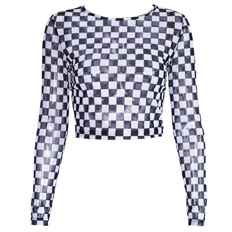 Bestkawaii-Women-Slim-Long-Sleeve-Check-Checkerboard-Sheer-Mesh-Crop-Top-Blouses