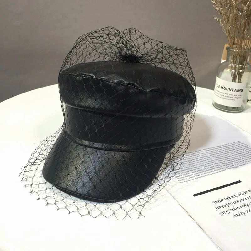 Bestkawaii-faux-leather-newsboy-hat-with-veil-mesh