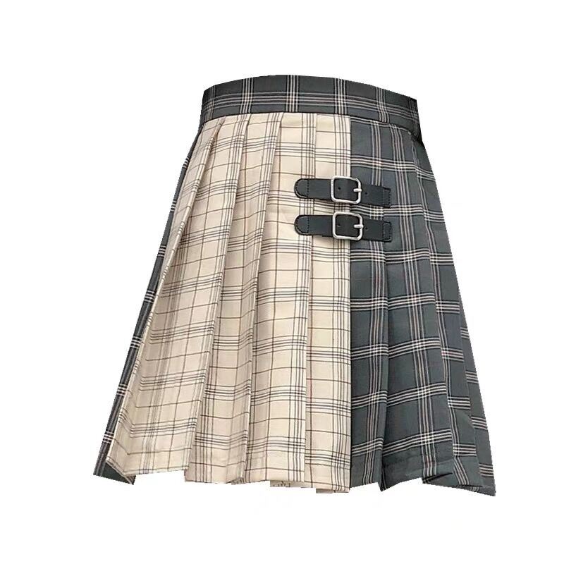 Bestkawaii-grunge-two-tone-double-buckle-pleated-plaid-mini-skirt