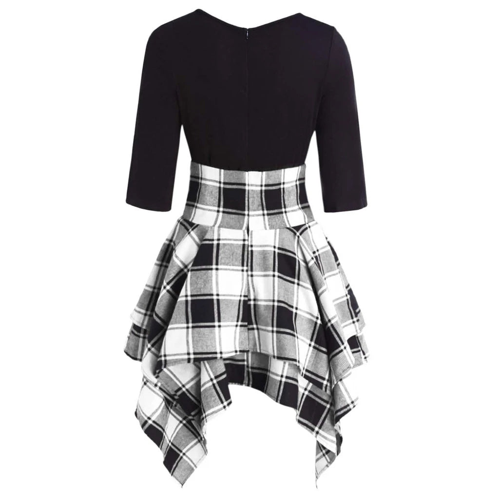 Bestkawaii-quarter-sleeve-lace-upaist-plaid-asymmetrical-dress