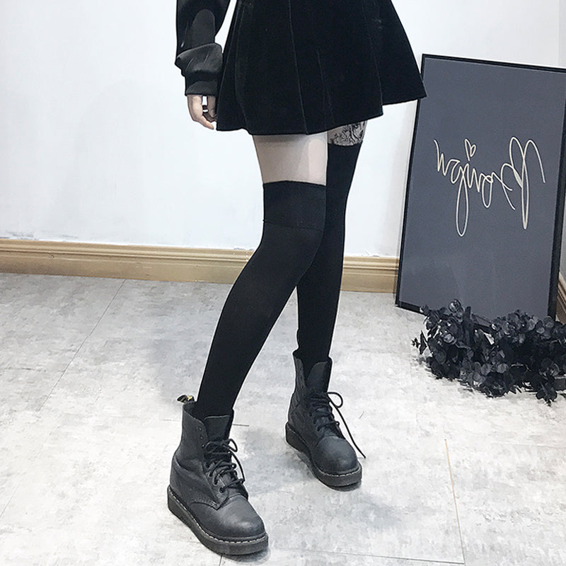 Black  Winter Thick JK Thigh Stockings