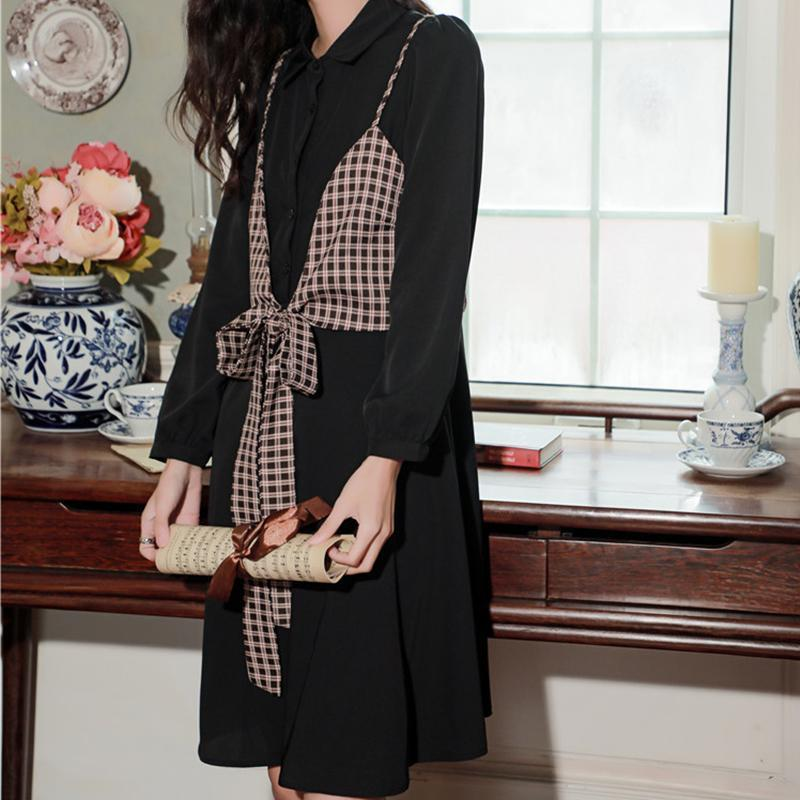 Bow-Knot-Plaid-Button-Shirt-Dress