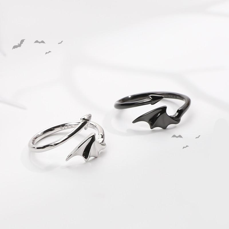 Best Kawaii - Cute Devil Wings 925 Silver Couple Rings