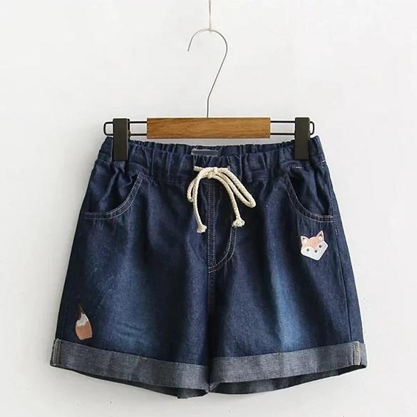 Best Kawaii - Denim Shorts Embroidered Fox Wide Leg Loose Lace