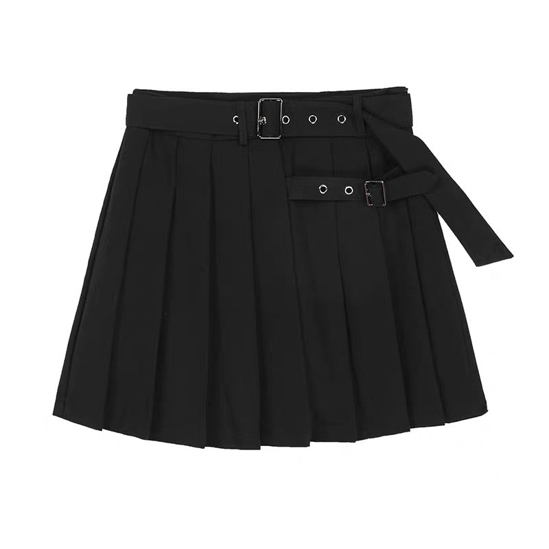 Double Buckle Black Pleated Skirt