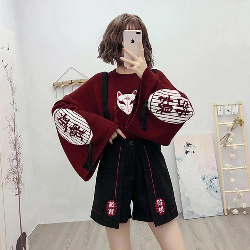 Best Kawaii - Embroidery High Waist Overall Shorts