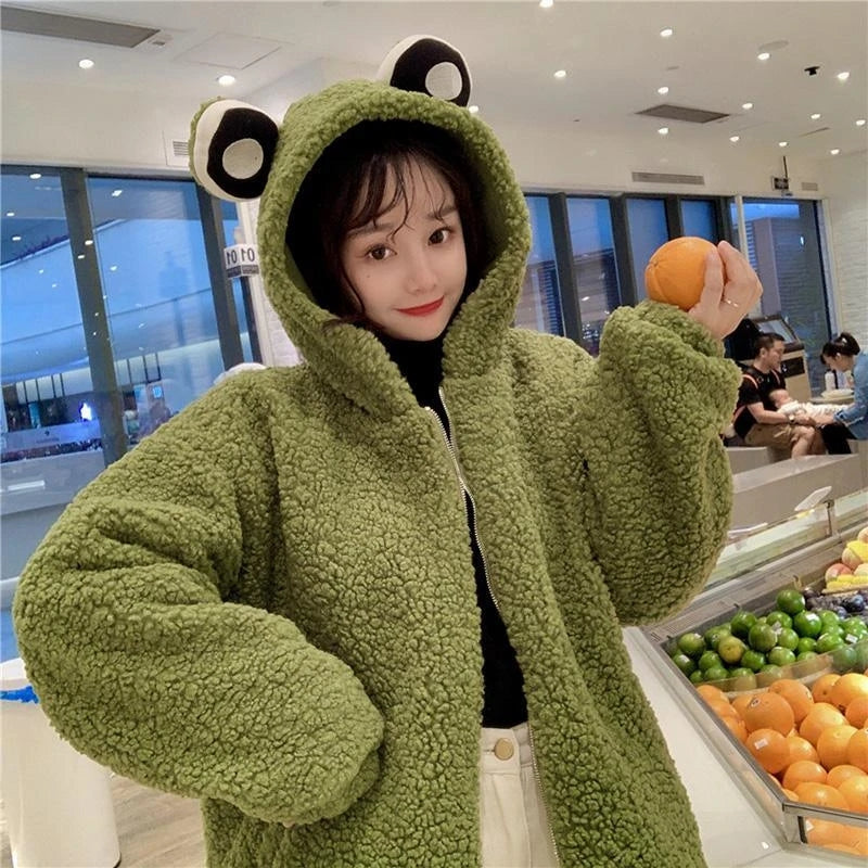 Frog Piggy Chick Ears Hooded Plush Jacket Loose Zipper