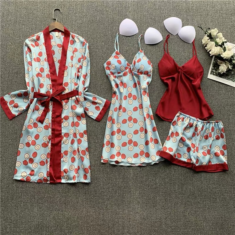 Fruit Printed 4pcs Pajama Set