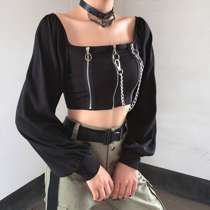 bestkawaii-gothic-lantern-sleeve-zipper-chain-crop-top-kawaii-dark-gothic-punk-fashion