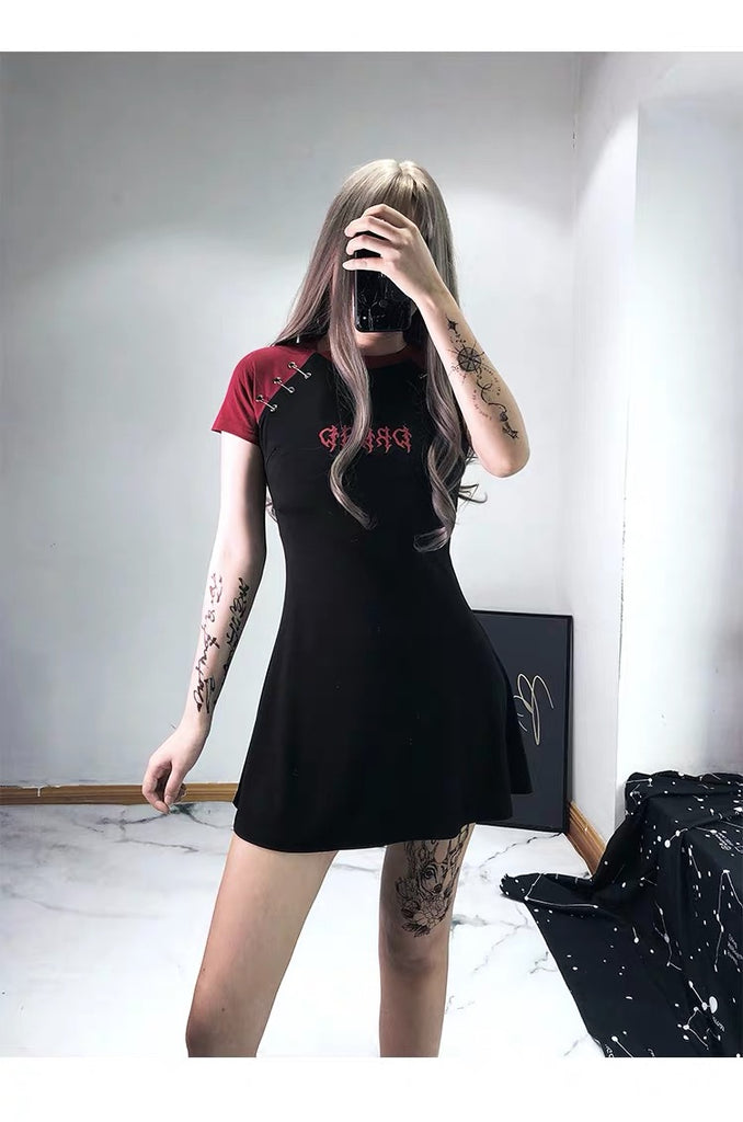 Gothic Letter Embroidery A-Line T-Shirt Dress