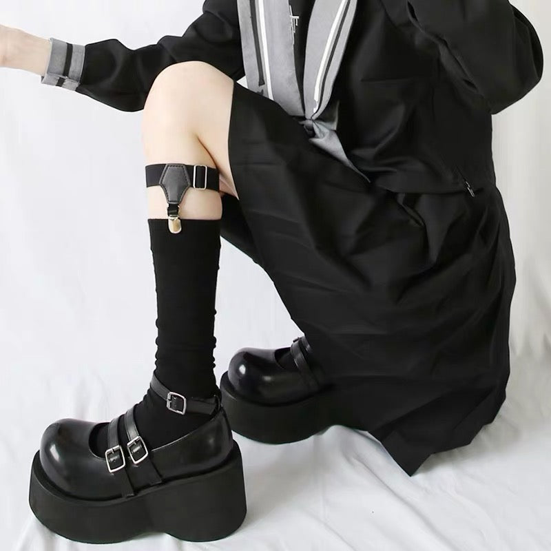 Dark Lolita Thick Bottom Three Buckles School Uniform Shoes