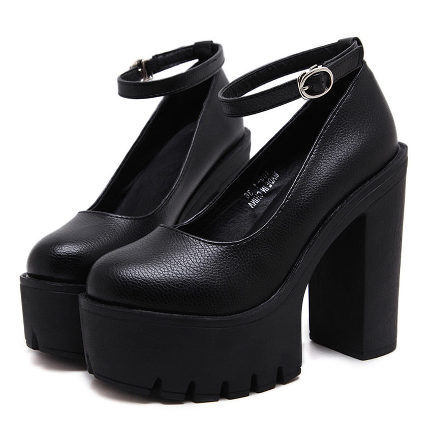 Gothic One Word Buckle High-Heeled Shoes