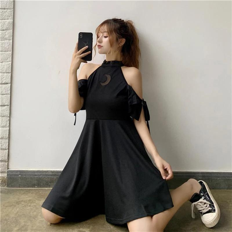 Best Kawaii - Gothic Hollow Moon Black Dress