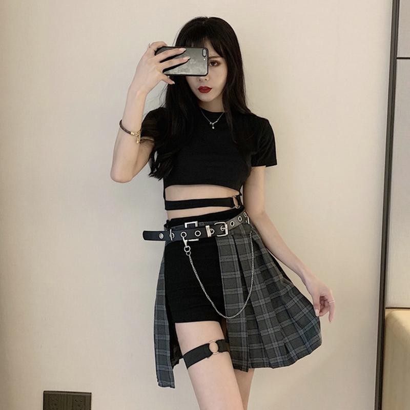 Best Kawaii - Gothic Irregular High Waist Plaid Skirt