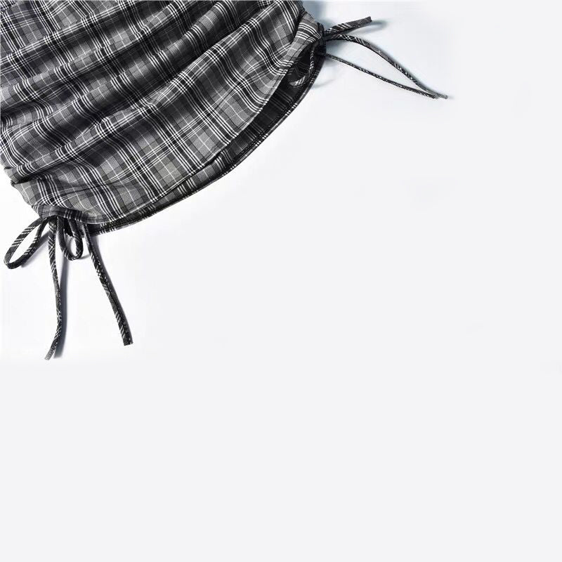 Gray Plaid Bag Hip Drawstring Skirt