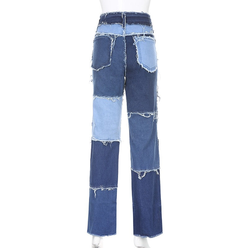 High Waist Color Matching Jeans