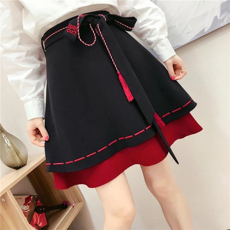 Best Kawaii - High Waist Tassels Belted Skirt