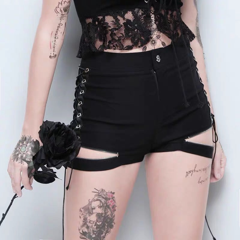 Expose Zipper Lace Up Short
