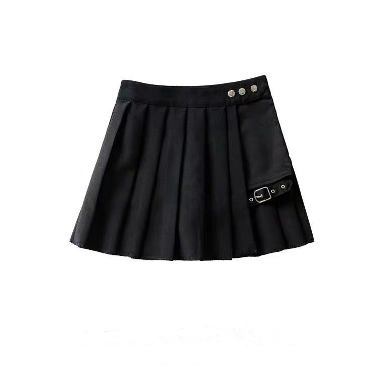 Two-Piece Irregular A-Line Plaid Pleated Skirt