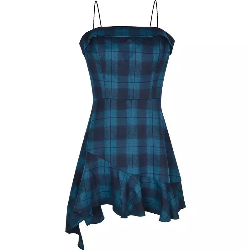 Irregular Blue Plaid Suspender Summer Dress
