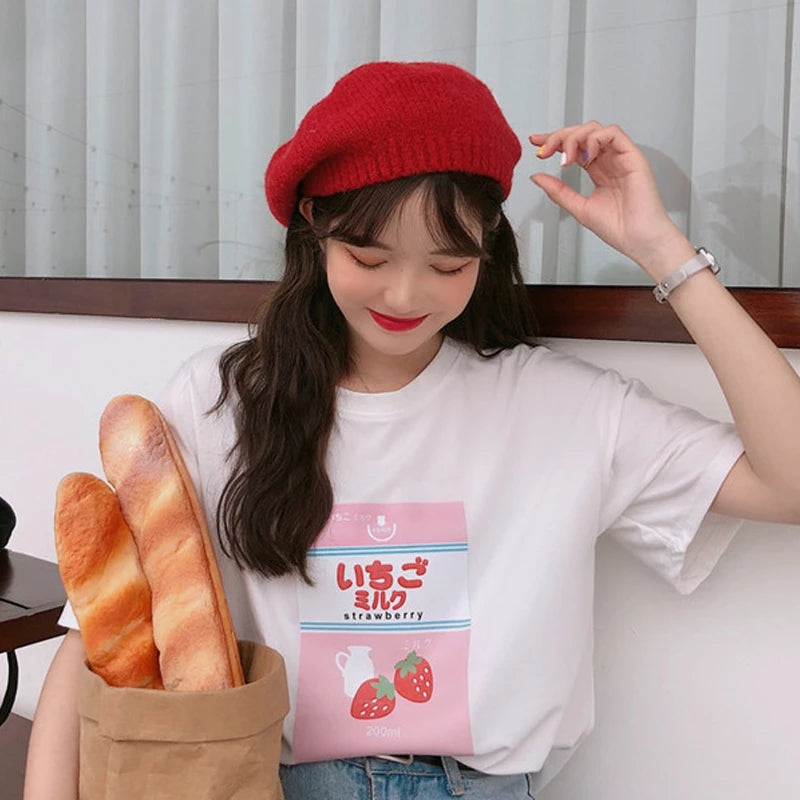 Best Kawaii - Japanese Cute Strawberry Milk T-Shirt
