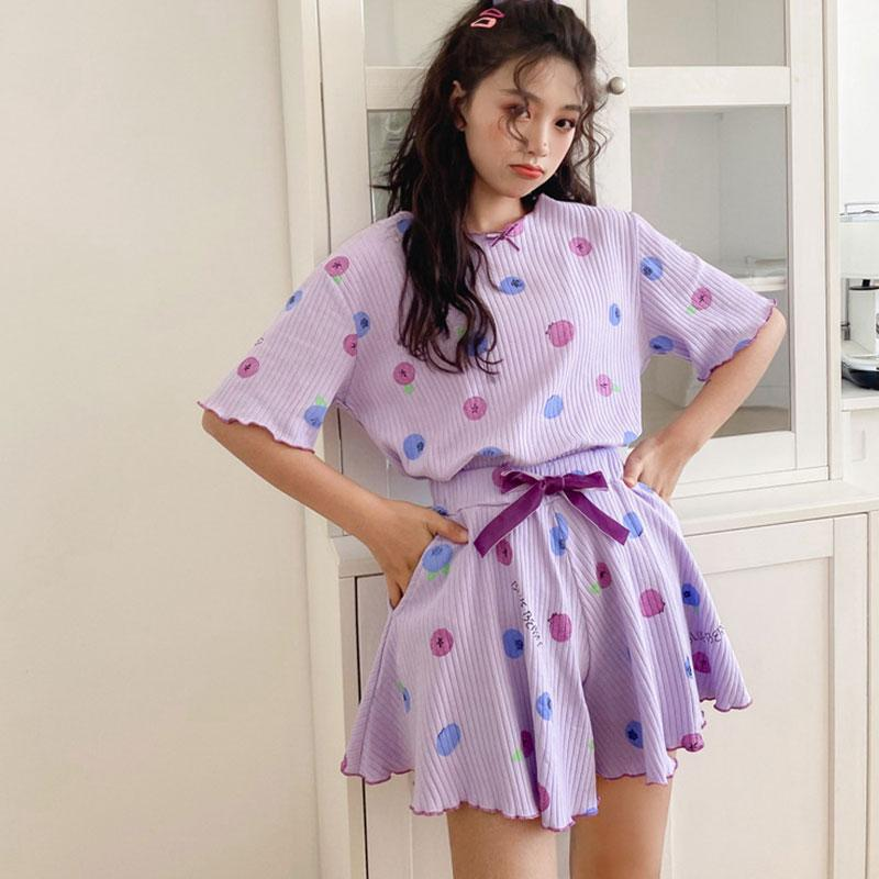 KawaiiDay-Blueberry-Cherry-Print-Bow-Summer-Pajama-Set