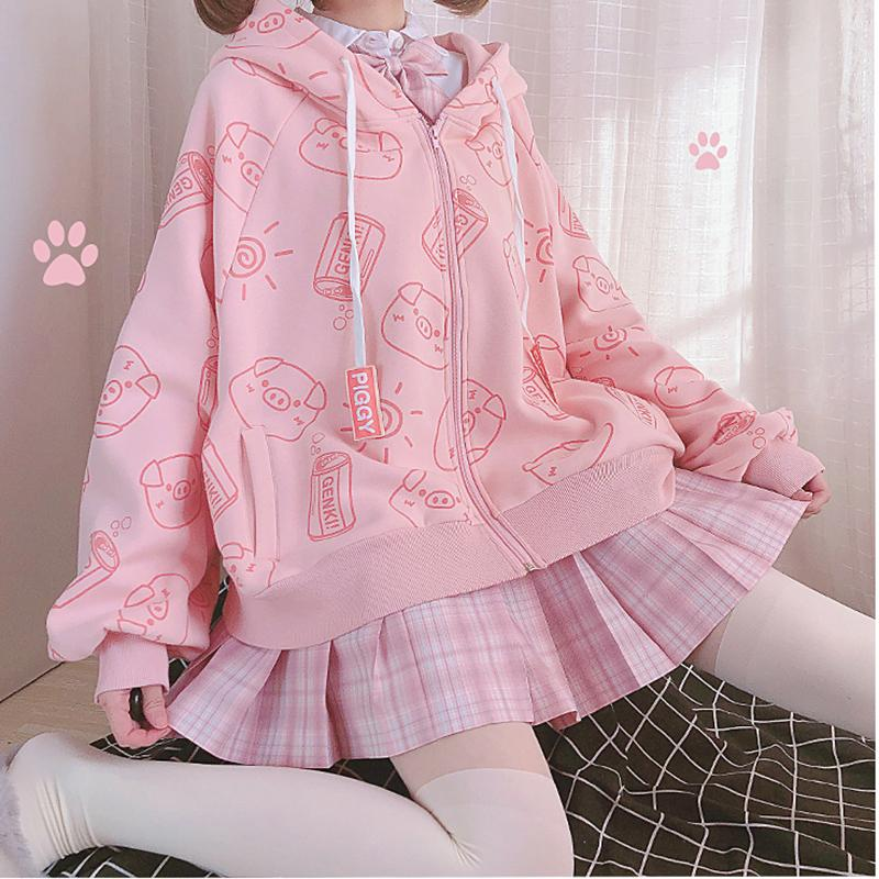 KawaiiDay-Bright-Pig-Bat-Sleeve-Printed-Loose-Hoodie