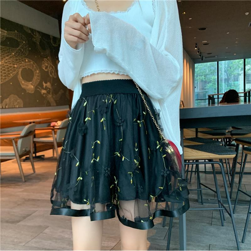 KawaiiDay-Elastic-High-Waist-A-line-Flower-Embroidery-Mesh-Mini-Skirts
