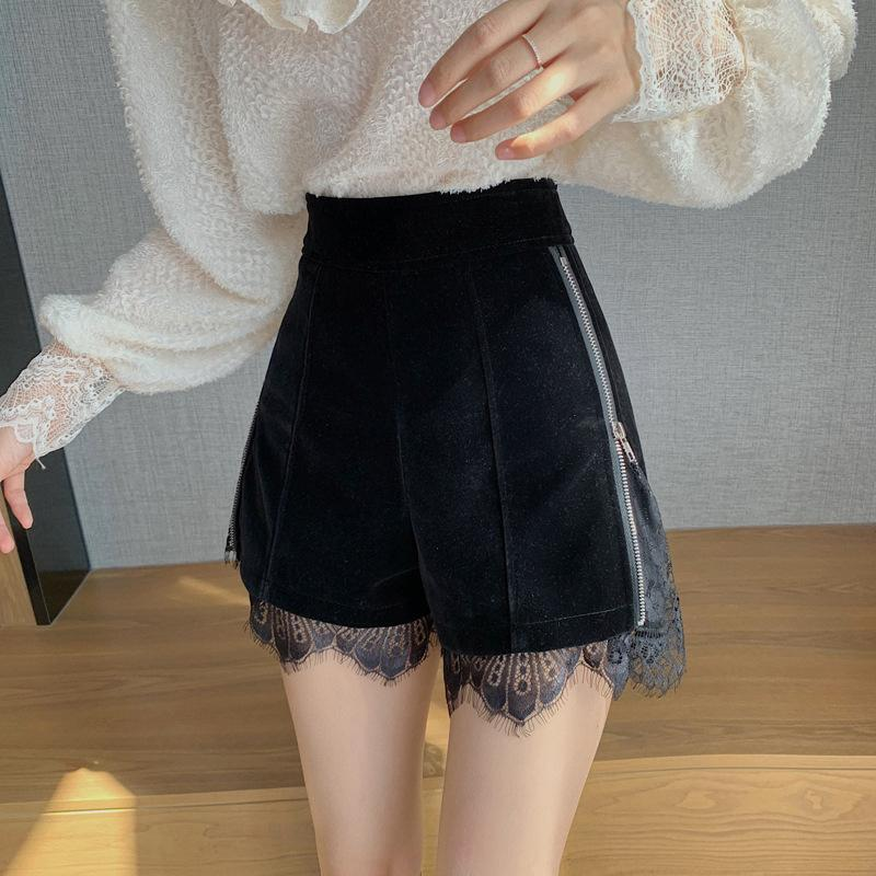 KawaiiDay-Lace-Trim-Velvet-Black-Shorts