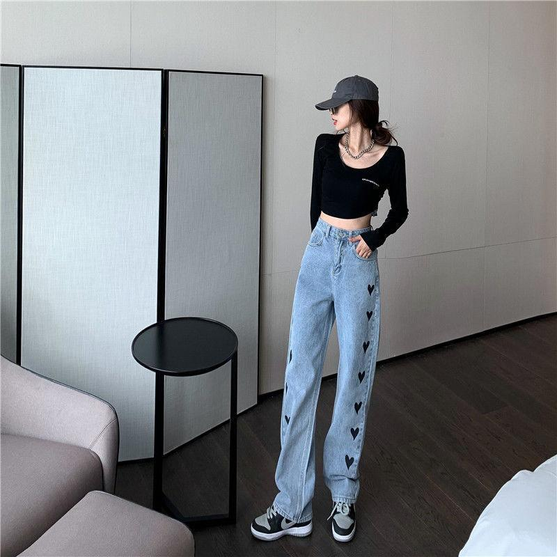 KawaiiDay-Love-Heart-Print-High-Waist-Wide-Leg-Denim-Pants
