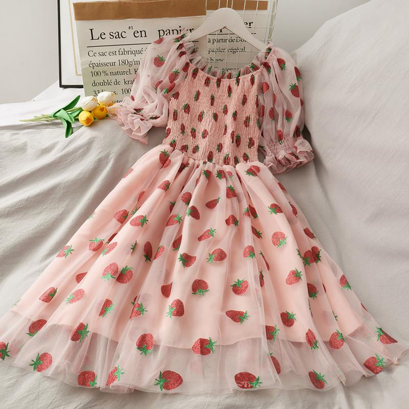 KawaiiDay-Strawberry-Print-High-Waist-Mesh-One-Shoulder-Mesh-Dress