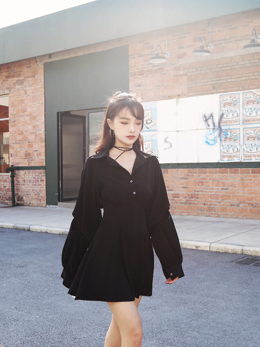 Best Kawaii - Kawaii Black High Waist Dress